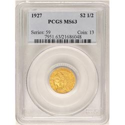 1927 $2 1/2 Indian Head Quarter Eagle Gold Coin PCGS MS63