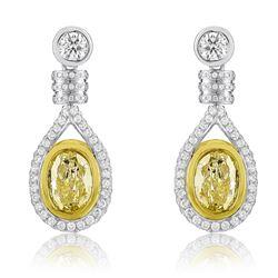 18k Two Tone Gold 4.60CTW Diamond Earrings, (VS1-VS2/VS2/G-H/G /Fancy Yellow)