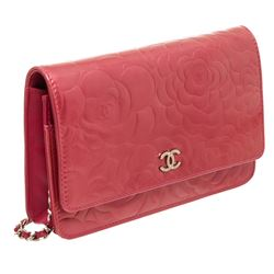 Chanel Pink Patent Leather Camellia Wallet On Chain WOC Bag