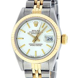 Rolex Ladies 2 Tone 14K White Index Fluted Datejust Wristwatch
