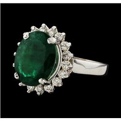 4.39 ctw Emerald and Diamond Ring - 14KT White Gold