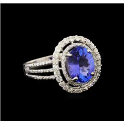 2.66 ctw Tanzanite and Diamond Ring - 14KT White Gold