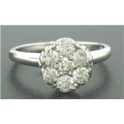 14k Solid White Gold 0.91 ctw 7 Raised Round Brilliant Cut Diamond Cluster Ring