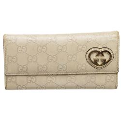 Gucci Off White Guccissima Leather Interlocking GG Heart Long Wallet