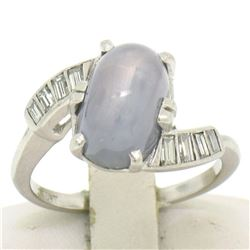 Art Deco Platinum Nat. Gray Star Sapphire & Baguette Diamond Ladies Ring