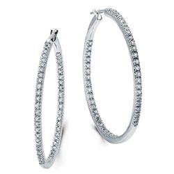 14k White Gold 1.00CTW Diamond Earrings, (I1-I2/G-H)