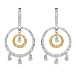 14k Two Tone Gold 0.52CTW Diamond Earrings, (I1/H)