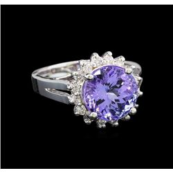 14KT White Gold 4.76 ctw Tanzanite and Diamond Ring