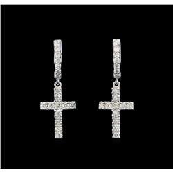 1.07 ctw Diamond Earrings - 14KT White Gold
