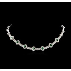 6.15 ctw Diamond and Emerald Necklace - 18KT White Gold