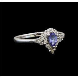 14KT White Gold 0.35 ctw Tanzanite and Diamond Ring