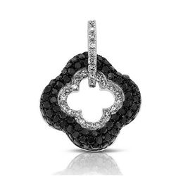 14k White Gold  0.44CTW Diamond and Black Diamonds Pendant