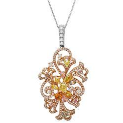 18k Three Tone Gold 3.30CTW Multicolor Dia, Pink Diamond and Diamond Pendant, (V