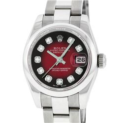 Rolex Ladies Stainless Steel Red Vignette Diamond Quickset Datejust Wristwatch W
