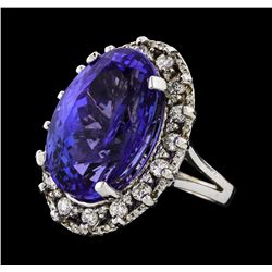GIA Cert 19.61 ctw Tanzanite and Diamond Ring - 14KT White Gold