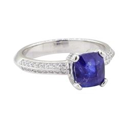 2.55 ctw Blue Sapphire and Diamond Ring - Platinum