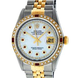 Rolex Mens 2 Tone 14K Mother Of Pearl String Diamond & Ruby Datejust Wristwatch