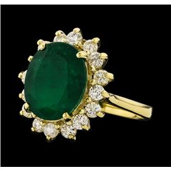 4.27 ctw Emerald and Diamond Ring - 14KT Yellow Gold