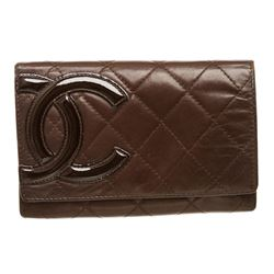 Chanel Brown Quilted Leather Ligne Cambon Compact Wallet
