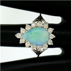 14k White Gold 3.62 ctw Pear Cut Australian Opal Diamond Halo Cocktail Ring