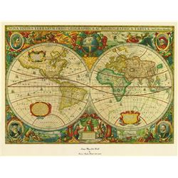 Antique Map of the World on Canvas