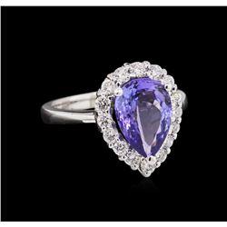 2.62 ctw Tanzanite and Diamond Ring - 14KT White Gold