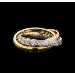 0.70 ctw Diamond Ring - 14KT Tri Color Gold