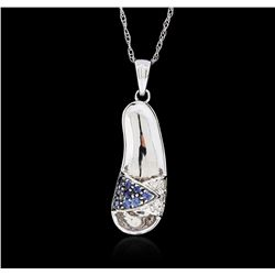 14KT White Gold 0.10 ctw Sapphire and Diamond Pendant With Chain