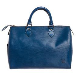Louis Vuitton Blue Epi Leather Speedy 35 Bag