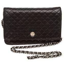 Chanel Black Quilted Leather Wallet On Chain WOC Bag