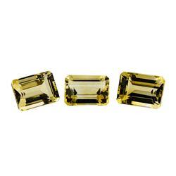 23.73 ctw.Natural Emerald Cut Citrine Quartz Parcel of Three