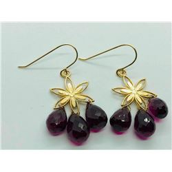 14K Yellow Gold Garnet(11.1ct) Earrings (~weight 3.32g), Insurance Value $1262 (Estimated Selling Pr