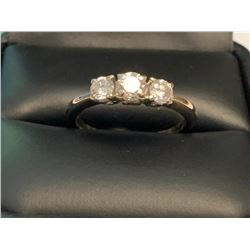 LADIES 14KT GOLD TRIPLE SOLITAIRE ANNIVERSARY RING WITH .81 CARAT DIAMONDS. SIZE 7 3/4. CERTIFICATE