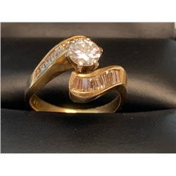 LADIES 14KT GOLD DIAMOND ENGAGEMENT/WEDDING RING SET WITH 1.12 CT ROUND AND BAQUETTE DIAMONDS. SIZE