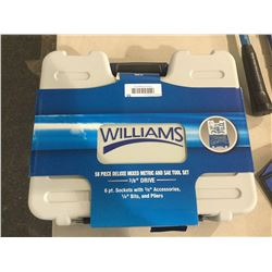 "Williams 58 Piece Deluxe Mixed Metric and SAE Tool Set 3/8"" Drive"