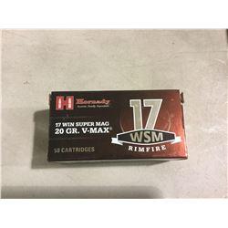 Hornady WSM Rimfire 17 Win Super Mag 20 GR. V-Max 50 Cartridges