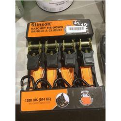 Stinson 12' Ratchet Tie-Down Set 4pc