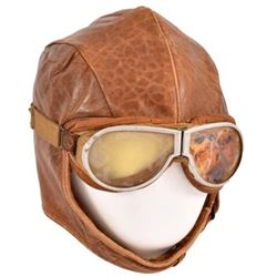 US Army Air Corps Leather Flight Helmet & Goggles