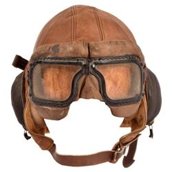Leather Flight Helmet & Goggles