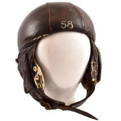 French Leather Flight Helmet