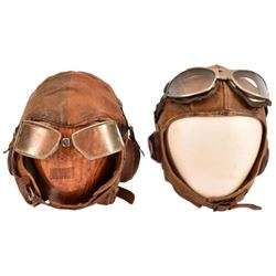 Pair of US Army Air Corps Leather Flight Helmets