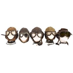 Collection of 5 Early Flight Helmets