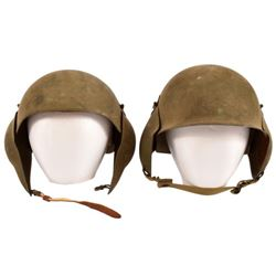 Two US Army Air Forces M3 Flak Helmets