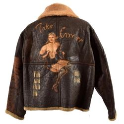 """WWII D-1 Bomber Jacket """"Take Cover"""" 9th Air Force"""