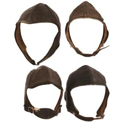 WWII Collection of 4 Leather Flight Helmets