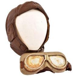 WWI RAF/RFC Leather Flight Helmet & Goggles