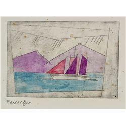 Lyonel Feininger German Expressionist Sign Linocut