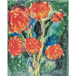Oil on Canvas Still Flowers Signed Agoniskty '65