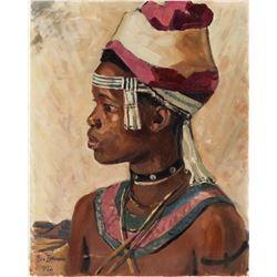 Ben Enwonwu Nigerian Modernist Oil on Canvas 1982