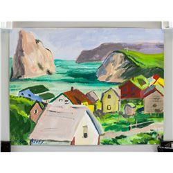 American Modernist Landscape Gouache Paper Signed